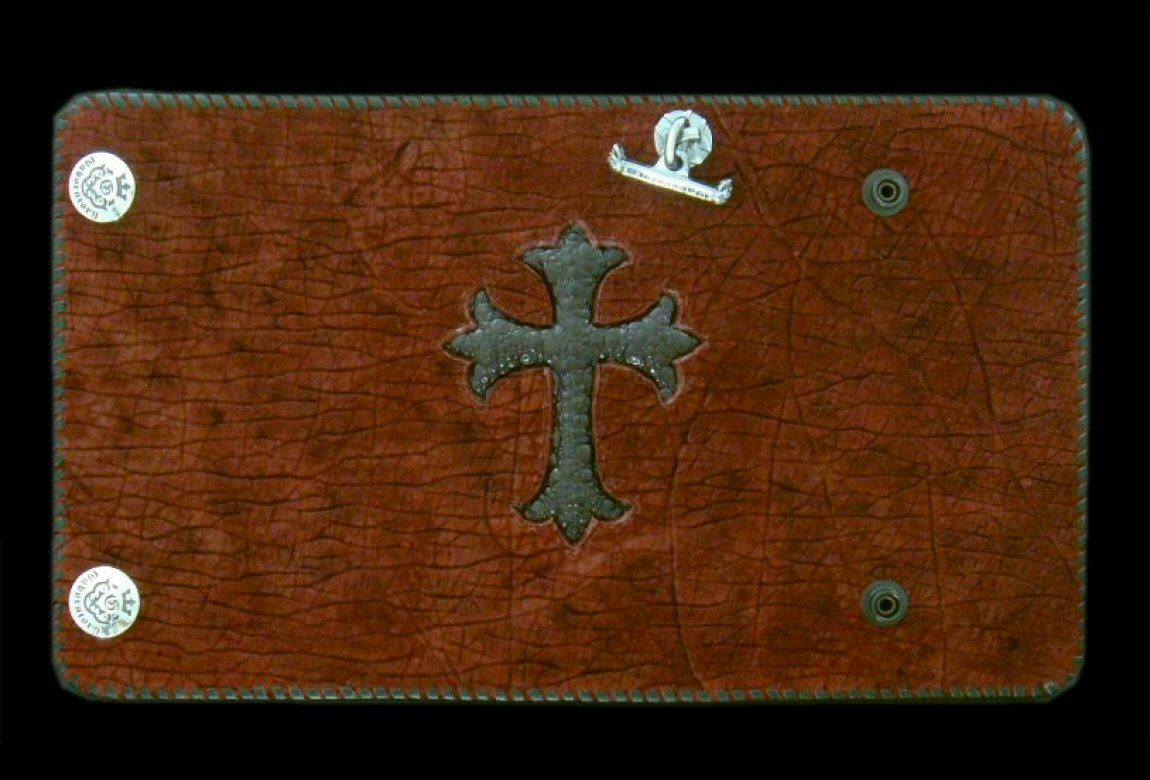 画像1: Frog Cross Inlay Hippo Long Wallet