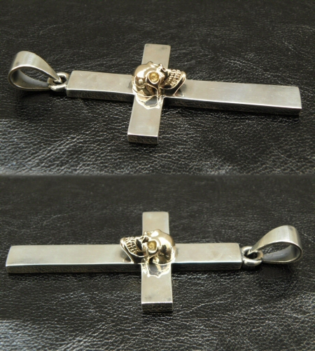画像5: 10k Skull On Plain Cross Pendant (Small)