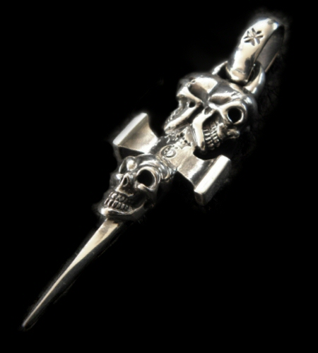 画像1: Half Triple Skull Dagger Square Bottom & H.W.O Pendant