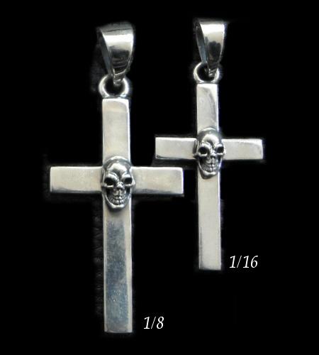 画像1: Skull On Plain Cross Pendant [1/8 , 1/16]