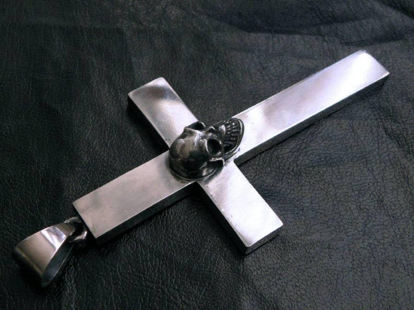 画像4: Skull On Plain Cross Pendant [Full ,  Half , Quarter]