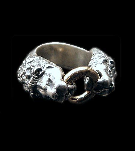画像1: 18k Gold Ring With Quarter Lion Triangle Wire Bangle Ring
