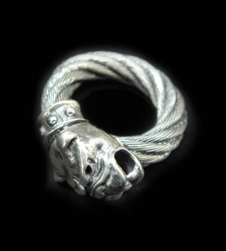 画像1: Single Old Bulldog Cable wire Bangle Ring