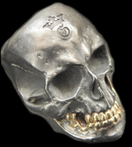 画像1: Large Skull With 18k Gold Teeth Ring