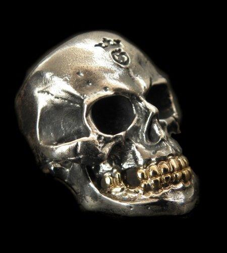 画像1: Medium Large Skull 18k Gold Teeth Ring with Jaw