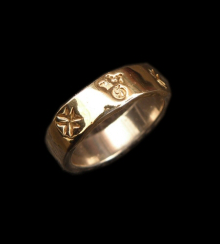 画像1: 18k Gold Triple Solder On Flat Bar Ring