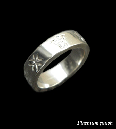 画像1: Flat Bar Ring Platinum Finish