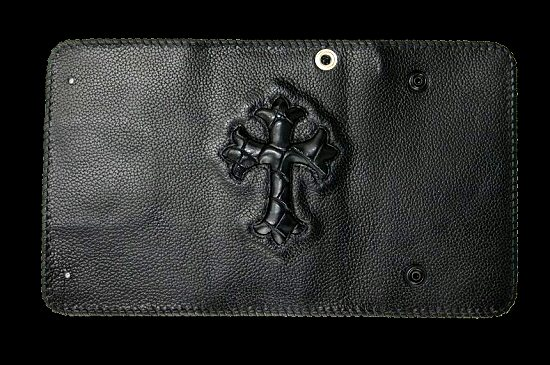 画像3: Crocodile Cross Inlay Buffalo Long Wallet