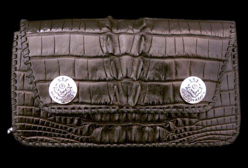画像1: Crocodile Tail Piece Biker Wallet