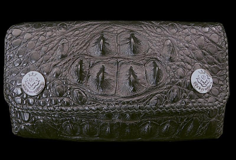 画像1: Crocodile Haed & Horn Back All Gusset Wallet