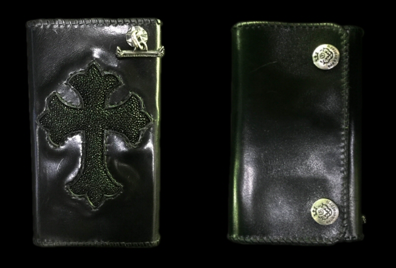 画像1: Stingray Cross Inlay Buffalo Long Wallet