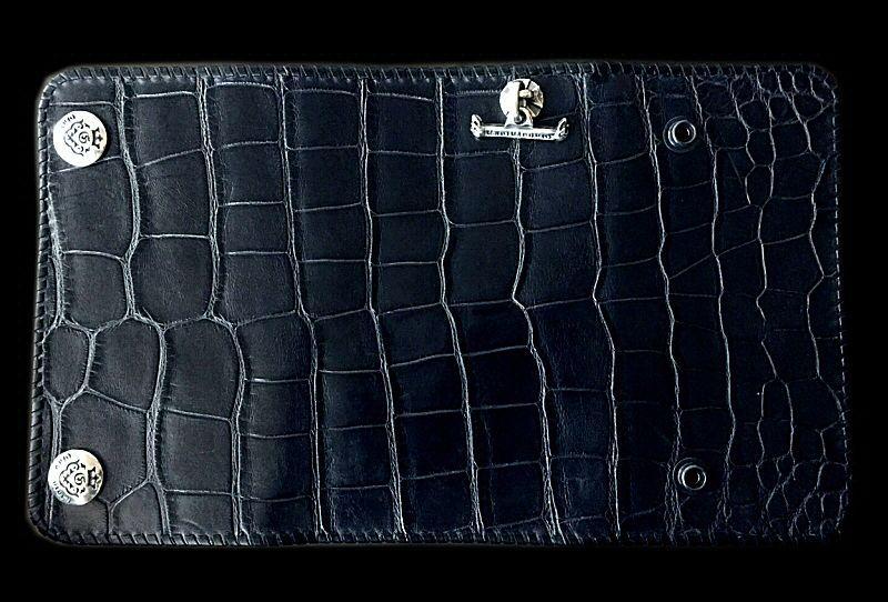 画像1: Crocodile Belly Plain Long Wallet