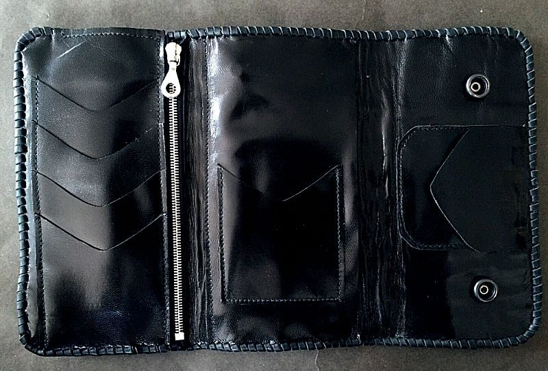 画像2: Crocodile Tail W-Spine Plain Long Wallet