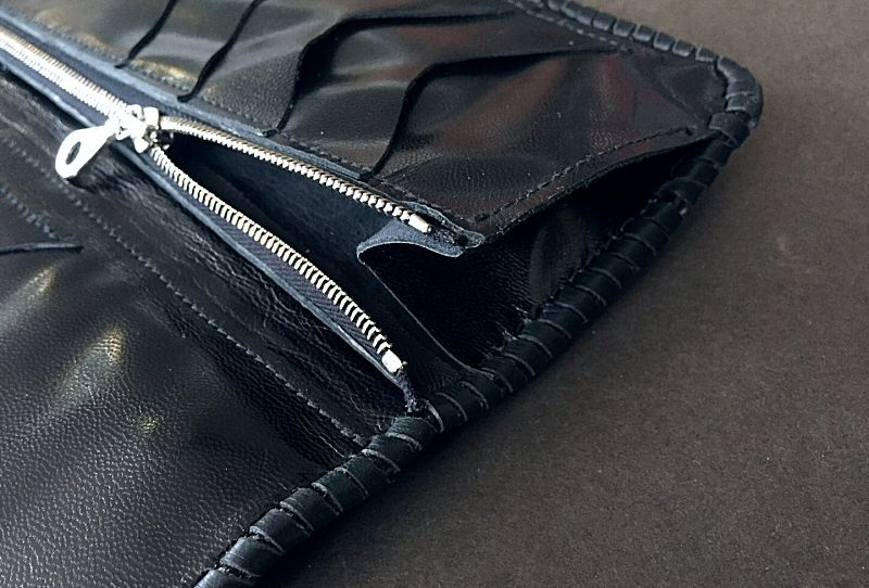 画像4: Crocodile Tail W-Spine Plain Long Wallet