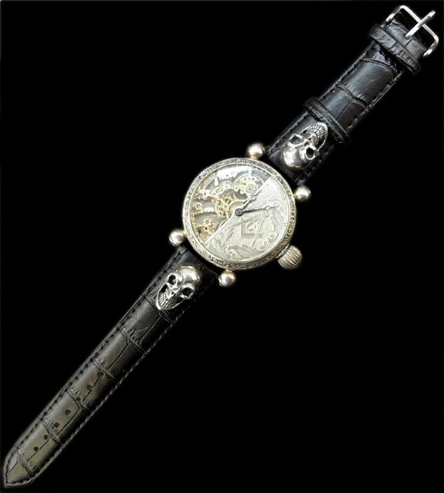 画像1: ELIDA Vintage Skeleton Watch With 2Skull Pins Band
