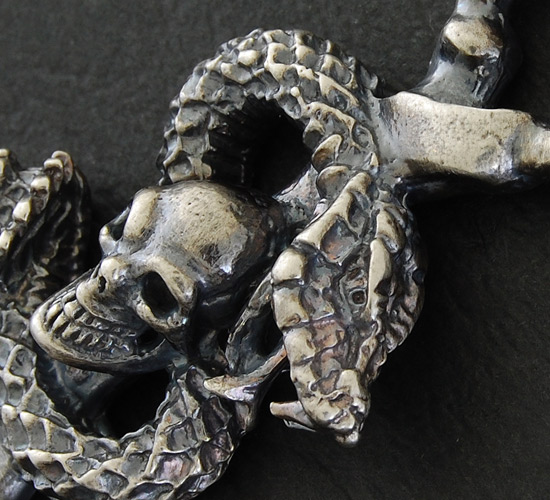 画像4: Half Snake Skull With Quarter Skull Chain Necklace