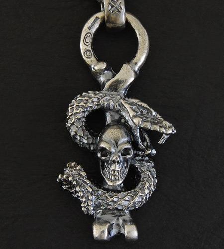 画像4: Half Skull Snake Chiseled Anchor Wallet Hanger
