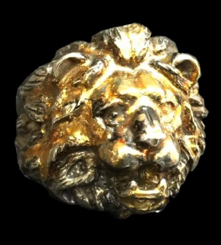 画像1: 18k Gold Blood Face Old Lion Ring