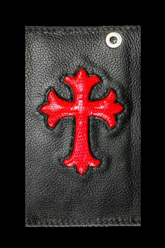 画像2: Lizard Cross Inlay Buffalo Long Wallet