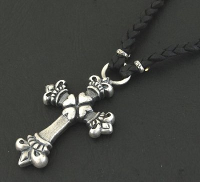 画像5: Quarter 4Heart Crown Cross braid leather necklace