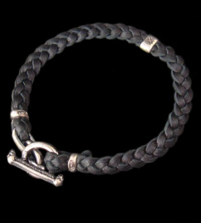 画像1: Quarter H.W.O braid leather bracelet