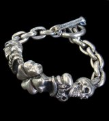 2Skull On 4Heart Crown & Chain Links Bracelet