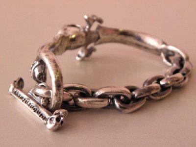 画像3: Skull On Dagger With Chain Links Bracelet
