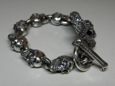 画像4: Skull On Snake With Skulls Links Bracelet