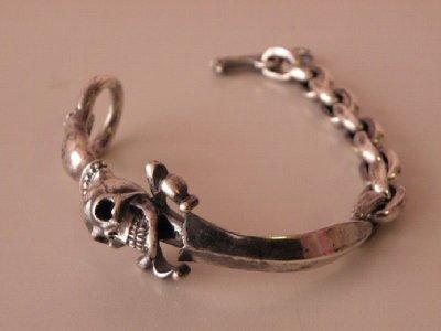 画像5: Skull On Dagger With Chain Links Bracelet