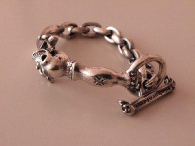 画像2: Skull On Dagger With Chain Links Bracelet