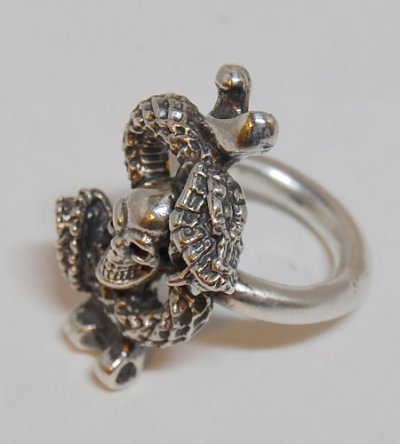 画像2: Quarter Skull On Snake With G Stamp Loop Ring