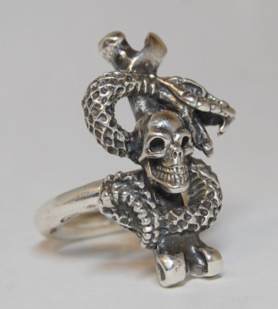 画像3: Quarter Skull On Snake With G Stamp Loop Ring