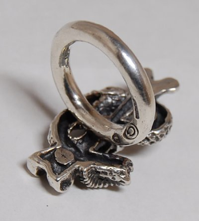 画像5: Quarter Skull On Snake With G Stamp Loop Ring