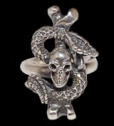 Quarter Skull On Snake With G Stamp Loop Ring