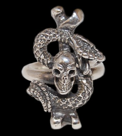 画像1: Quarter Skull On Snake With G Stamp Loop Ring