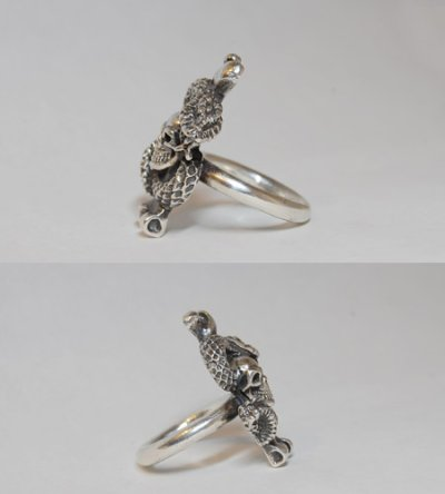 画像4: Quarter Skull On Snake With G Stamp Loop Ring