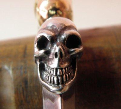 画像5: 18k Gold & Silver Skull Triangle Wire Bangle