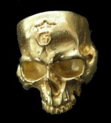 10k Gold Large Skull Without Jaw Ring (Mat Color  Finish)