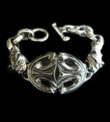 Sculpted Oval With 2 Old Bulldogs & H.W.O Links Bracelet