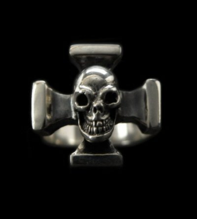 画像1: Quarter Skull On Square Hammer Cross Ring