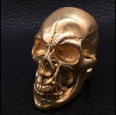画像2: 10K Gold Old Skull Full Face Ring( Pure Gold Color Finish)