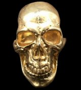 10K Gold Old Skull Full Face Ring( Pure Gold Color Finish)