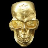 10K Gold Large Skull H,W,O Ring ( Pure Gold Color Finish)