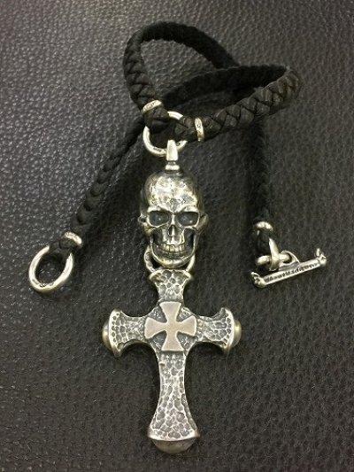画像2: Half Large Skull With Hammer Cross & Braid Leather Necklace