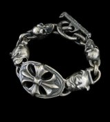 Cross Oval With 2Bulldogs & 2Skulls Bracelet