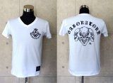 Triple skull V-neck T-shirt [White]