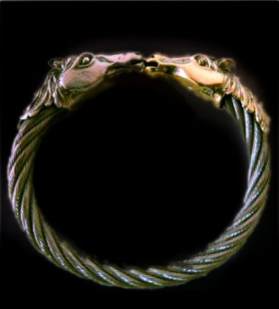 画像1: 18k Gold & Silver Horse Cable Wire Bangle