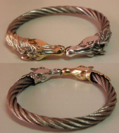 画像5: 18k Gold & Silver Horse Cable Wire Bangle
