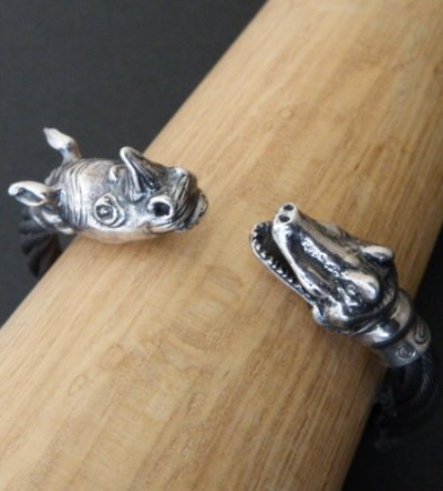 画像2: Rhinoceros & Alligator Cable Wire Bangle