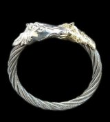 Gold & Silver Horse With Teeth Cable Wire Bangle